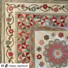 Beautiful work by Heather @happy_appliquer on her Okehampton quilt! Can't wait to see the next installment... #somersetpatchwork