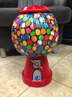 My Life With A Cherry On Top: bubble gum machine painted pumpkin
