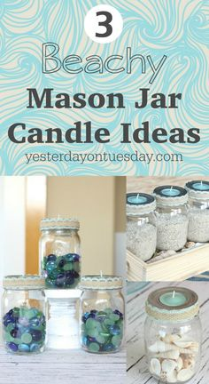 3 Beachy Mason Jar Candles !