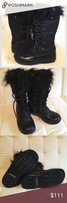 Sorel Leather Snow Boots Hand Crafted Premium Sorel Winter Boots. Genuine leather, faux fur, natural rubber sole, WATERPROOF. In terrific condition! I've barely used these and I take care of them. Will ship in original box. True to size 7 Sorel Shoes Winter & Rain Boots