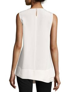 B3DSJ Derek Lam Faux-Wrap Silk Sleeveless Blouse, White