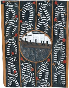 """August calendar image: A Chain Gang Dye on carved and tooled leather, 13 1/8 x 17 5/8"""""""