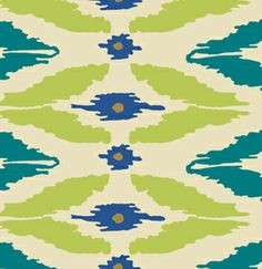 """""""Boho"""" by Free Spirit Fabric, Modern Ikat in Peacock blue, lime, and blue"""