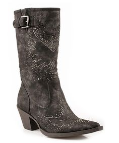 Look what I found on #zulily! Black Crystal Cowboy Boot by Roper #zulilyfinds