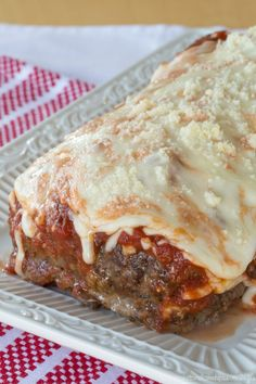 Lasagna Stuffed Meatloaf - a cheesy combination of two favorite comfort food recipes.