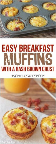 These bacon and egg breakfast muffins with a hash brown crust from playpartyplan.com are a great quick and easy breakfast recipe that you can make at the beginning of the week and heat up and eat all day long! Also perfect brunch recipe or food for a baby