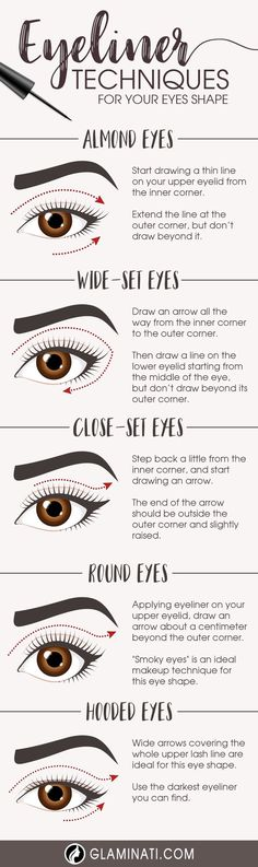 Once you master eyeliner application, your makeup routine will never be boring. But what if you get out of ideas? Discover many eyeliner styles here. Glitter Eye Makeup, Makeup Eyeshadow, Pink Eyeshadow, Red Makeup, Eyeliner Techniques, Wide Set Eyes, Attractive Eyes, Eyeliner Styles, Eyeliner Hacks