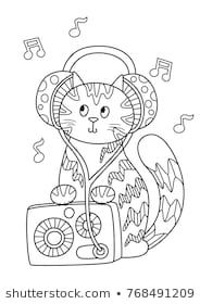 Outlined Doodle Anti Stress Coloring Cute Cat With Radio And