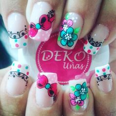 Flores Y Moños #Uñas Butterfly Nail Art, Flower Nail Art, Pretty Nail Art, French Tip Nails, Beauty Nails, Nail Art Designs, Body Art, My Favorite Things, Ideas