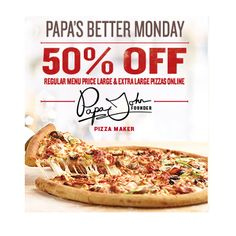 Papa John's: 50% Off Pizza! - http://therealsavvysaver.com/2016/06/20/papa-johns-50-off/
