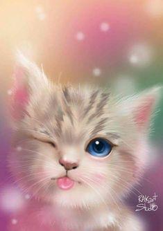 58 ideas for cats cute art kittens Cute Cat Wallpaper, Cute Wallpaper Backgrounds, Pretty Wallpapers, Animal Wallpaper, Baby Wallpaper, Food Wallpaper, Travel Wallpaper, Nature Wallpaper, Cute Little Animals