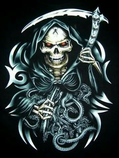 Angel Of Death Tattoo, Reaper Drawing, Gothic Drawings, Skull Pictures, Skull Wallpaper, Memento Mori, Horror Art, Skull Art, Dark Art
