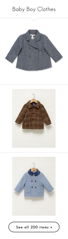 """""""Baby Boy Clothes"""" by hrh-amelia-of-croatia ❤ liked on Polyvore featuring outerwear, coats, double breasted woolen coat, wool peacoat, pea jacket, double breasted peacoat, double breasted coat, brown coat, blue coat and red double breasted coat"""