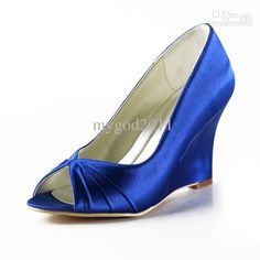 Wholesale cheap wedding shoes online, wedge heels - Find best blue wedge heels wedding bridal sandals satin peep toe custom made women shoes plus size 35-45 at discount prices from Chinese wedding shoes supplier on DHgate.com.