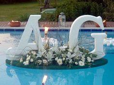 Backyard wedding with pool Wedding Table, Diy Wedding, Wedding Venues, Rustic Wedding, Pool Wedding Decorations, Floating Pool Decorations, Backyard Wedding Pool, Outdoor Pool, Floating Flowers