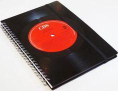 DIN A5 - Notizbuch Schallplatte-Hooters-upcycling ausVinyl - ein Designerstück von Aurum bei DaWanda