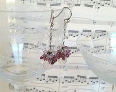 Rose Quartz and Tourmaline cluster earrings.