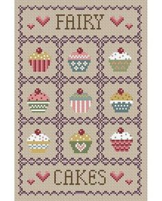 Fairy Cakes Cross Stitch Kit £20.75 | Past Impressions | Little Dove Designs
