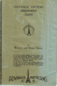 1930s Advance Vintage Sewing Pattern Women's and Misses' Full Apron One Size by midvalecottage on Etsy