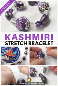 Beginner's jewellery making projects don't have to look boring. This easy stretch bracelet uses opulent Kashmiri-style beads to create an exotic looking bracelet in just minutes. The tutorial also shows you how to tie a secure knot in the elastic. Jewelry Knots, Jewelry Crafts, Beaded Jewelry, Beaded Bracelets, Silver Jewelry, Jewellery Diy, Jewelry Ideas, Silver Ring, Silver Earrings