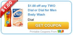 There is a new $1.00 printable coupon for Dial or Dial for Men body wash! Dial coupons don't last long, so print now while it lasts!