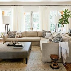 Linen Slipcovered Sectional, Transitional, living room, Lindsey Meadows