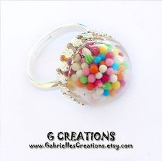 Sprinkles Globe Ring  Colorful Candy  Mini by GabriellesCreations #glass #globe #adjustable #ring #cute
