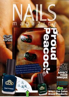 """Create your """"Proud Peacock"""" nail art designs with LCN's Blue Sapphire and Green Emerald nail polishes.     Check out this fabulous LCN Mention in the September edition of Nails Magazine!"""