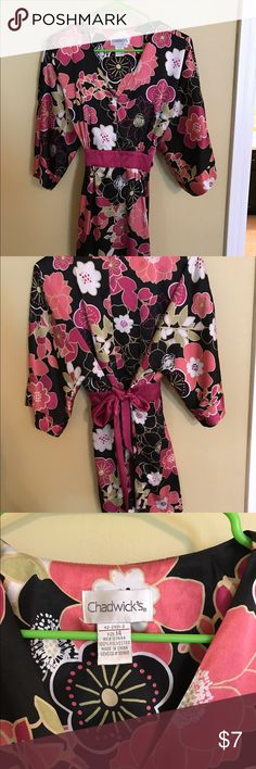 Top/Blouse Pink and Black Satin Floral Blouse that ties in the back. Tops Blouses