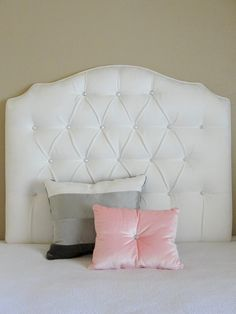 Velvet White Tufted Headboard Twin Hollywood Regency Furniture Decor Pinterest Headboards And Products