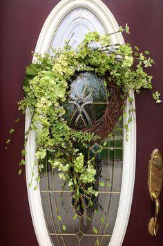 "Spring Wreath Summer Wreath Grapevine Door Wreath Decor..""Spring Hydrangea"""