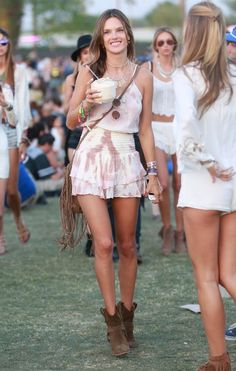 Alessandra Ambrosio.. Ale by Alessandra Festival Romper Dress, necklaces both by BaubleBar X Ale by Alessandra Ambrosio, and Isabel Marant Rawson Ankle Boots.. #Coachella