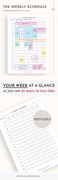 Weekly Planner Printable - I love how clean and easy-to-use this minimalist weekly schedule looks! It's surely an effective way to plan the week ahead and save time while working - the whole week is visible at a glance so there's no fiddling with individual daily pages. And it's available as an instant download printable file so it could be on my desk (and ready to be filled in with plans) in just 5 minutes! #ad #etsy #printable #planner #planneraddict #plannerlove #plannergirl