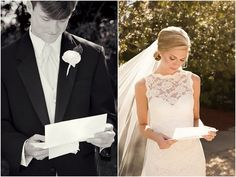 letters to be read right before the ceremony...charming idea