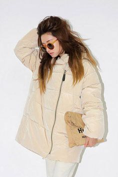 Knit Matching Hooded Padded Coat