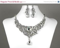 Bridal Necklace Earrings, Wedding Jewelry Set, Rhinestone Statement Necklace, Crystal Bridal Necklace and Earrings
