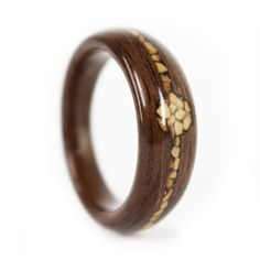 Walnut and Crushed Walnut Shell Engagement or Wedding Ring