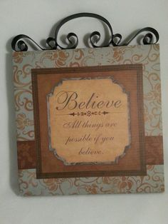 BELIEVE ALL THINGS ARE POSSIBLE IF YOU BELIEVE FRAMED CANVAS ART PRINT, 8x8 #Modernism