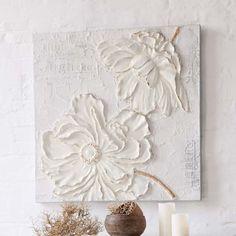 Bild White Flower, 3D-Optik, Acryl/ Leinen Vorderansicht