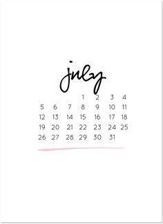 monthly freebie | july calendar