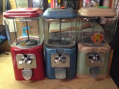 A trio of old Acorn gumball machines waiting to be worked on!