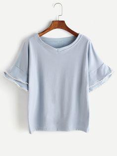 fd85ef94a291 Blue Tiered Bell Sleeve Crochet Trim T-shirt Crochet Trim