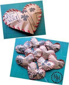 Stuffed paper hearts.