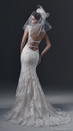 sottero and midgley bridal fall 2015 2016 lace straps v neckline gorgeous embroidered fit and flare mermaid wedding dress brecia back