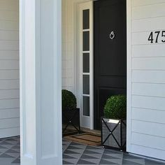 Black Front Door with Mirrored Planters - Transitional - Home Exterior Modern Entrance, Entrance Foyer, House Entrance, Entryway, Black Entry Doors, Transitional House, California Homes, White Houses, Exterior Design