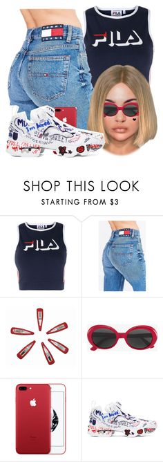 """fila and a face tattoo♡"" by fashion123123 ❤ liked on Polyvore featuring Fila, Tommy Hilfiger, Yves Saint Laurent, Reebok and Brika"