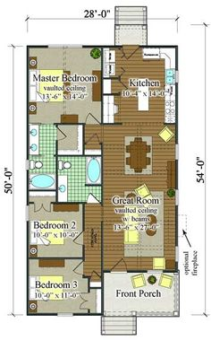 BSA Home Plans: Clarkston Cottage (Classical Vernacular) Historic Small Cottage Plans, Small House Plans, Small House Living, Cottage Living, Beach House Plans, Dream House Plans, Tiny Little Houses, Small Houses, Vaulted Ceiling Kitchen