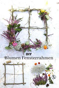 Wie du für alle Jahreszeiten einen kreativen Fensterrahmen aus Zweigen basteln kannst, zeige ich dir auf meinem Blog. Die Alternative zum klassischen Blumenkranz. Ob im Herbst mit Heidekraut, im Winter mit Tannenzweigen oder zu Halloween mit Spinnenwebe, immer eine tolle Deko #blumendeko #naturdeko #basteln #fensterrahmen Diy Greenhouse, Samhain, Zero Waste, Home And Garden, Wreaths, Autumn, Crafty, Winter, Nature