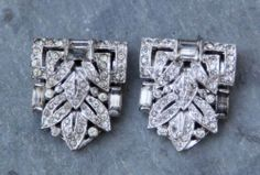 2 Vintage Clip Mates Silvertone Art Deco Clear Rhinestone Dress Clips | eBay