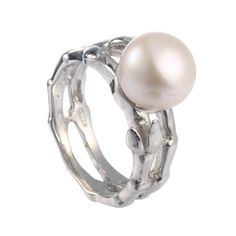 Brynala Sterling Silver Rings Cubic Zirconia Pearl simulated